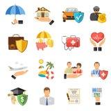 Iconos planos del seguro fijados Fotografía de archivo