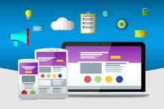 Iconos planos del seo Sitios web y usos Ordenador portátil plano Fotografía de archivo libre de regalías