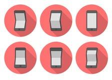 Iconos planos del smartphone de la curva Fotografía de archivo