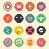 Iconos planos del super héroe Foto de archivo libre de regalías