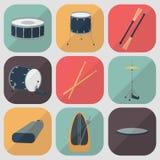 Iconos planos del tambor Diseño plano Sombra Vector Imagenes de archivo