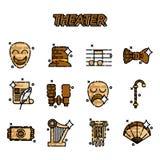 Iconos planos del teatro fijados libre illustration