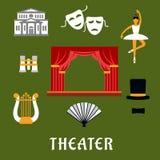 Iconos planos del teatro y del arte stock de ilustración