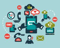 Iconos planos del teléfono fijados Fotos de archivo libres de regalías