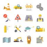 Iconos planos del trabajador del camino fijados stock de ilustración