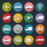 Iconos planos del transporte Fotografía de archivo libre de regalías