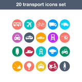 Iconos planos del transporte fijados Imagenes de archivo