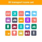 Iconos planos del transporte fijados Imagen de archivo libre de regalías