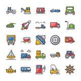 Iconos planos del transporte fijados ilustración del vector