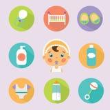 Iconos planos del tratamiento del bebé fijados Imágenes de archivo libres de regalías
