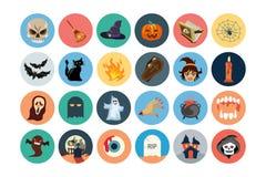 Iconos planos 1 del vector de Halloween Imágenes de archivo libres de regalías