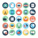 Iconos planos 5 del vector de la comunicación stock de ilustración