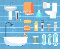 Iconos planos del vector de la higiene personal fijados stock de ilustración