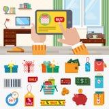 Iconos planos del vector de las compras en línea: venta del dinero del regalo de la compra de la tableta Fotos de archivo