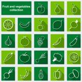 Iconos planos del vector de las frutas y verduras Imagen de archivo libre de regalías