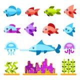 Iconos planos del vector de los animales marinos stock de ilustración