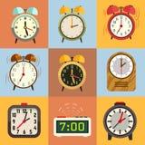 Iconos planos del vector del despertador ilustración del vector