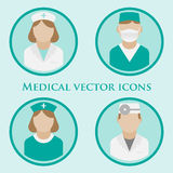 Iconos planos del vector del doctor libre illustration