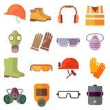 Iconos planos del vector del equipo de seguridad de trabajo fijados