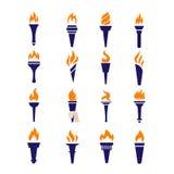 Iconos planos del vector del fuego de la antorcha de la victoria de la llama olímpica del campeonato fijados ilustración del vector