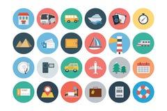 Iconos planos 1 del vector del viaje y del turismo Fotografía de archivo