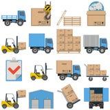 Iconos planos del vector - envío Fotografía de archivo libre de regalías