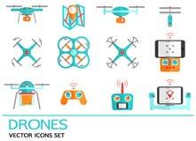 Iconos planos del vector fijados con los abejones Colección de elementos con el quadrocopter, hexacopter, multicopter hecho en es Fotografía de archivo