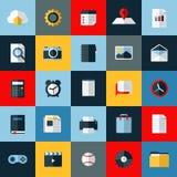 Iconos planos del vector fijados de elementos universales Foto de archivo libre de regalías