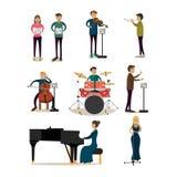 Iconos planos del vector fijados de gente de la orquesta sinfónica ilustración del vector