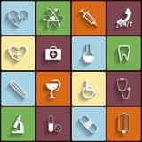 Iconos planos del vector médico fijados Fotos de archivo libres de regalías