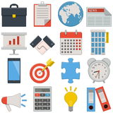 Iconos planos del vector - negocio Imagen de archivo libre de regalías