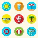 Iconos planos del verano Foto de archivo