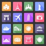Iconos planos del viaje Fotos de archivo