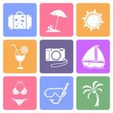 Iconos planos del viaje Fotos de archivo libres de regalías