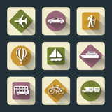 Iconos planos del viaje Fotografía de archivo libre de regalías