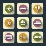 Iconos planos del viaje Foto de archivo