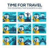 Iconos planos del viaje con el fotógrafo del carácter stock de ilustración
