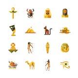 Iconos planos del viaje de Egipto del diseño, elementos del infographics con símbolos egipcios Imagen de archivo