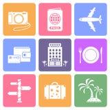 Iconos planos del viaje fijados Fotografía de archivo libre de regalías
