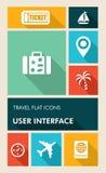 Iconos planos del viaje UI de la interfaz de usuario colorida de los apps. Fotos de archivo
