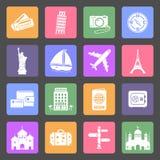 Iconos planos del viaje y de las señales fijados Imagen de archivo