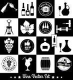 Iconos planos del vino fijados Fotografía de archivo