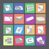 Iconos planos del web de la casa de impresión fijados Fotos de archivo