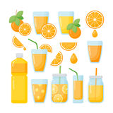 Iconos planos del zumo de naranja fijados Imagen de archivo libre de regalías