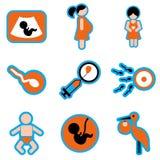 Iconos planos determinados con embarazo largo de la sombra Fotografía de archivo libre de regalías