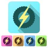 Iconos planos determinados de la rueda redonda con el relámpago Eco Imagenes de archivo
