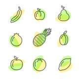 Iconos planos determinados de las frutas que dibujan líneas en un fondo blanco Imagen de archivo libre de regalías