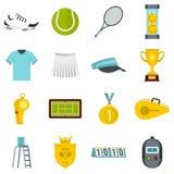 Iconos planos determinados del tenis ilustración del vector