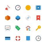 Iconos planos determinados del vector Foto de archivo libre de regalías