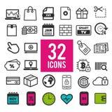 Iconos planos determinados, para el web y los apps móviles - finanzas, viaje, medios, compras, comunicación y médico Foto de archivo